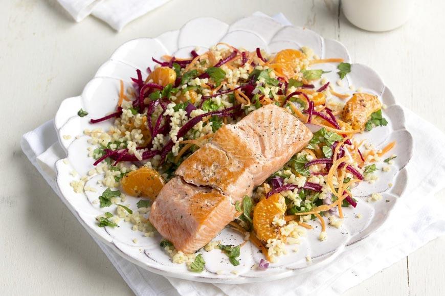 Grilled Salmon with Bulgur and Mandarin Salad