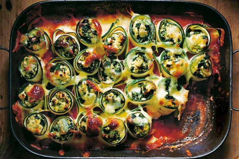 Ricotta Kale & Oregano Zucchini Rolls